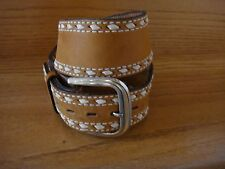 Men's or Women's Tony Lama Brown Leather Western Buck Stitched Belt 28 No.48710