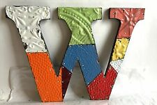 "Antique Tin Ceiling Wrapped 12"" Letter 'W' Patchwork Metal Multi color F8"