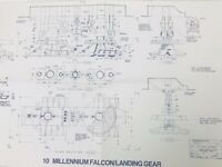 1977 RARE STAR WARS RETURN JEDI MILLENNIUM FALCON LANDING GEAR Blueprint SCALE