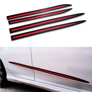 4x Black/Red PVC Car Side Skirt Door Sill Anti-Collision Body Molding Trim Cover