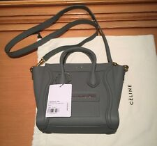Authentic New with Tags Baby Grained Calfskin Celine Nano Luggage Bag, Kohl
