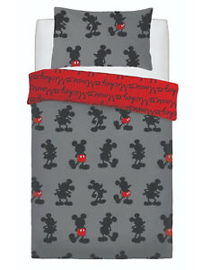 Disney Mickey Mouse Pops Of Red Single Duvet Cover Quilt Cover Bedding Set