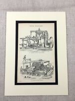 1880 Antico Stampa Vittoriano Ingegneria Mattone Fabbrica Macchina Industriale