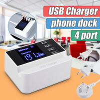 4 USB Port Wall Charger 5V Fast USB Adapter Power Home With Groove EU/UK/US Plug