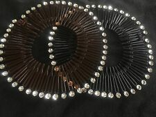 Pack 2 Black Brown diamante flexi hair combs plastic zigzag teeth flexicombs