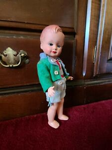 """Antique Celluloid German Doll 10"""" Stringed Joints.Head turns'Eyes open & close."""