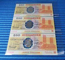 3X 1990 Singapore 25th Anniversary SG25 $50 Commemorative Note B 105366-105368