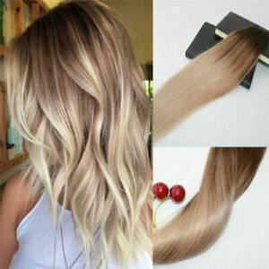 12AA RUSSIAN 100g Human Hair Extensions 4#/18# Blonde BALAYAGE Ombre  STRAIGHT