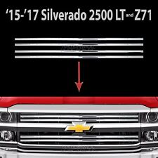 2015-2018 Silverado 2500 Chrome Snap On Grille Overlays Front Grill Bars Covers
