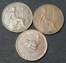Great Britain (Uk), 3 Diff Type Farthing Coins: Edward Vii, George V, George Vi