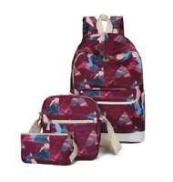 3Pcs/Set Women Girl Canvas Backpack Laptop School Shoulder Bag Travel Book Bags