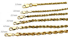 """14k твердого желтого золота, веревка, цепочка, ожерелье, браслет 1mm-9mm, мужские, женские, размер 7"""" -36"""""""