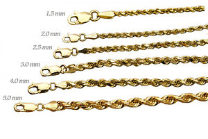 "14k Solid Yellow Gold Rope Chain Necklace Bracelet 1mm-10mm Men Women Sz 7""-30"""