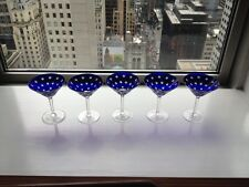 5 Faberge Galaxy Crystal Martini Glasses in Cobalt Blue