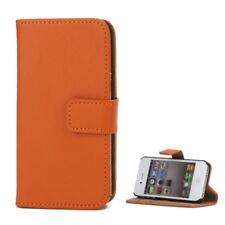 Apple iPhone 4 4S Flip Handy Tasche Magnet Echt Leder Klapp Etui Cover Orange