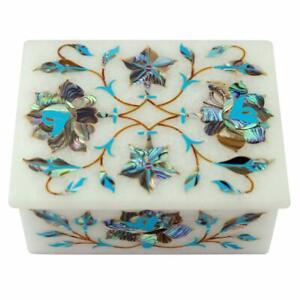 Marble Jewelry Box fine floral Semi Precious Stones work decor