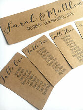 RUSTIC-SHABBY CHIC-WEDDING TABLE SEATING PLAN-TAGS-HEADER CARD-KRAFT CARD