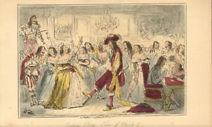 1850 coloured etching ! evening party - time of charles 11 - by john leech !