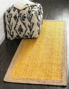 handwoven braided yellow color with natural border runner rug living room rug