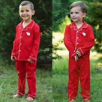 Toddler Baby Boys Girls Christmas Santa Pajamas Outfits Nightwear Sleepwear Set