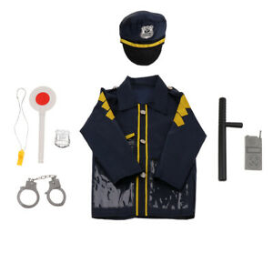 8pcs Simulation Role Play Children Police Costume Playset for Boys and Girls