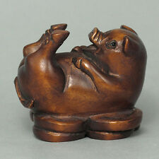 Boxwood Wood Netsuke PIG Figurine Carving (SALE) WN624