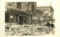 Autos Long Beach California Earthquake Damage 1933 RPPC Photo Postcard 12695