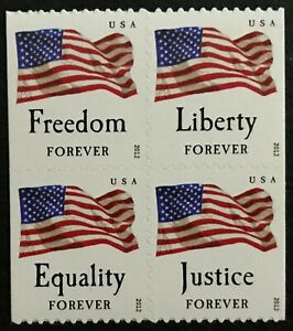 2012 #4673-4676 - Forever - FOUR FLAGS - Block of 4 Stamps - Mint NH