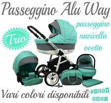 PASSEGGINO TRIO TRIS ALU WAY + NAVICELLA + OVETTO+ ACCESSORI!DIVERSI COLORI