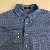 Arrow Dover Dress Shirt Mens 17 Blue 34/35 Sleeve Oxford Cotton Check Business