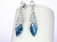 Earrings Made With Swarovski Elements Water-drop  Blue Dangle Drop