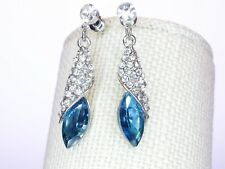 Earrings Made With Swarovski Elements Water-drop  Blue Dangle Drop