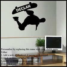 LARGE AND SMALL PERSONALISED SKATEBOARD WALL STICKER ART 2 x A4 A3 TRANSFER