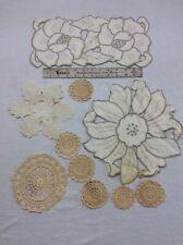 Vintage Lot of 10 Linens Crochet Lace Doilies Doily White Ivory Cream