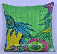 Green Floral Indian Handmade Decor Pillow Case Kantha Throw Cushion Cover 16""