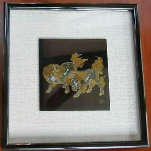 framed Japanese etching, two mythical animals with pearl inlay