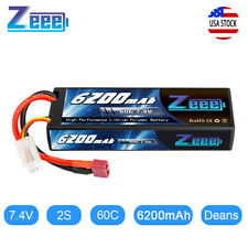 6200mAh 60C 7.4V 2S Hardcase LiPo Battery Deans for RC Car Truck Boat Truggy