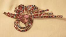 Heart Colorful Rhinestone Brooch Pin Delightful Flute Topped Silvertone Swooped