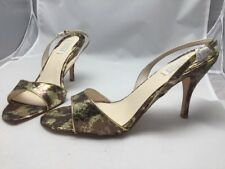 American Glamour Shoes 11M Open Toed Snake Skin Gold And Tan 413029 NIB