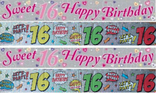 Girl Boy HAPPY 16th BIRTHDAY Age Sweet 16 Holograph Party Foil Banner Decoration