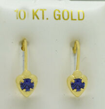 TANZANITE  0.58 Cts EARRINGS 10k Gold LEVER BACKS ** NEW WITH TAG** Made in USA