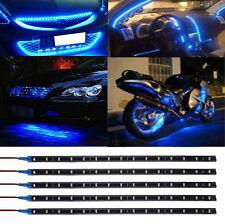 5x Waterproof 30cm SMD 3528 Blue 15LED Flexible Car Motor Strip Light Bulb 12V