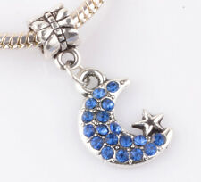 925 Silver CZ Moon and stars pendant Fit European Charm Bead Bracelet B#140