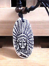 NATIVE AMERICAN NECKLACE chief BLESSED shaman headdress pipe BONE TRIBAL