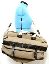 Eddie Bauer Ford Collaboration Large Tan Canvas/Leather Travel  Duffle Bag