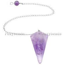 1X Natural Amethyst Faceted Pendulum Dowsing Pyramid Healing Chakra Pendant Gift