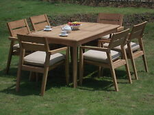 "7 PC DINING TEAK SET GARDEN OUTDOOR PATIO FURNITURE CELLORE STACKING 60"" RECTTBL"