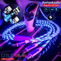 NEW LED flowing Light Up Magnetic Fast Charger Cable For Type-C Micro-USB iPhone