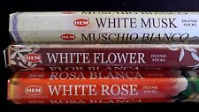 WHITE Musk White Flower White Rose 60 HEM Incense Stick 3 Scent Sampler Gift Set