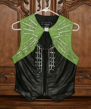 Women's Western Cowgirl Black/Red or Black/Lime Green Leather Crystal Vest